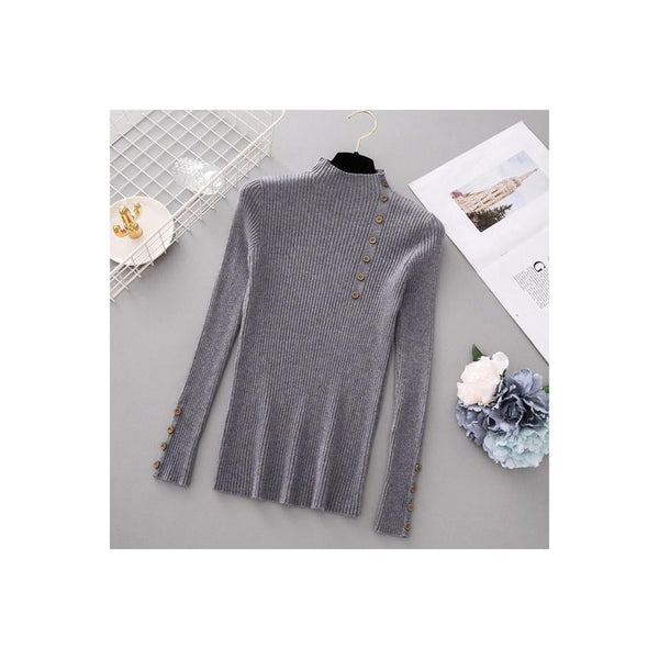 Button Turtleneck Sweater - Gray / One Size