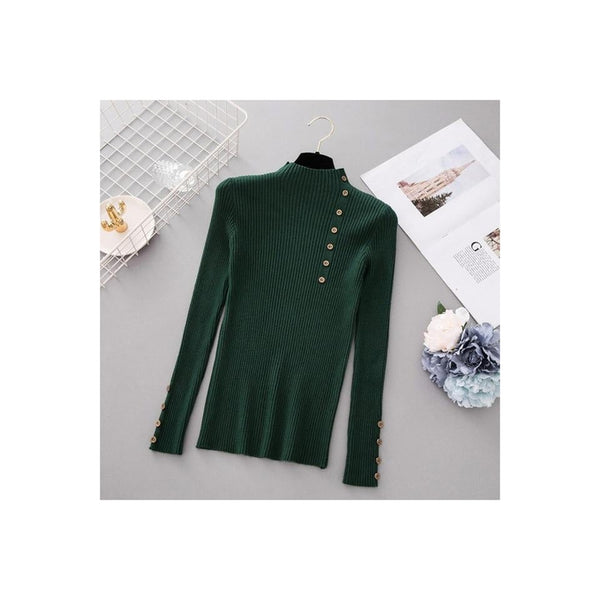 Button Turtleneck Sweater - Green / One Size