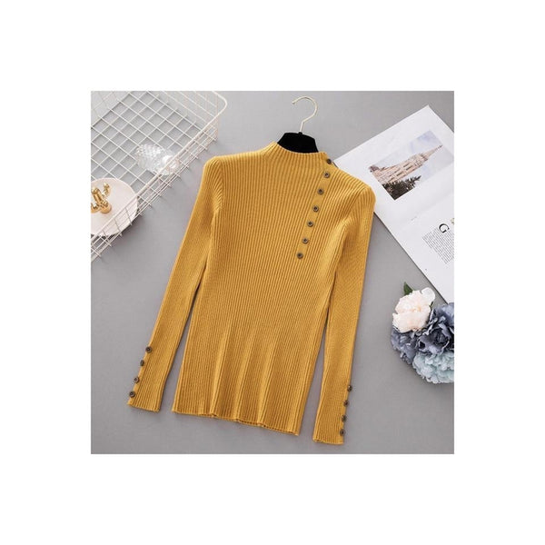 Button Turtleneck Sweater - Yellow / One Size