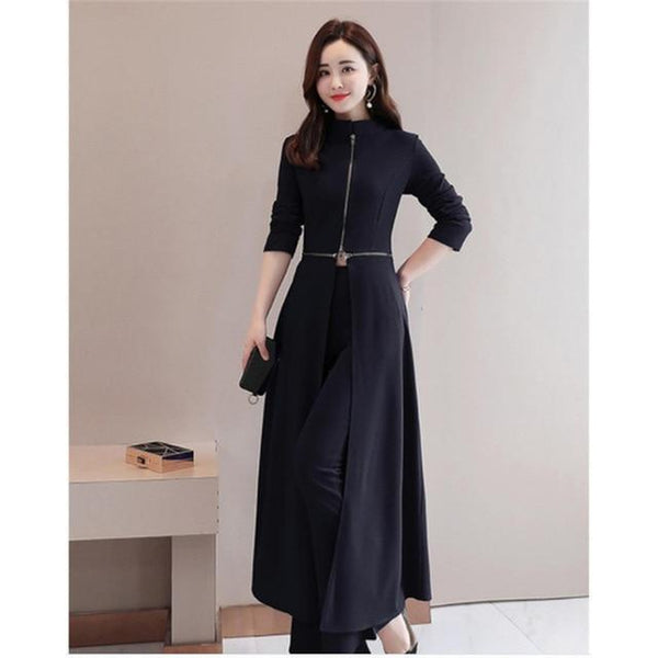 Elegant Wide-Leg Pant Suit With Cape - Black / S - Black / M - Black / L - Black / XL