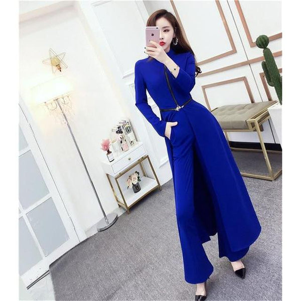 Elegant Wide-Leg Pant Suit With Cape - Blue / S - Blue / M - Blue / L - Blue / XL