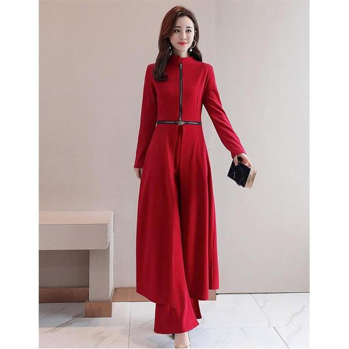 Elegant Wide-Leg Pant Suit With Cape - Red / S - Red / M - Red / L - Red / XL