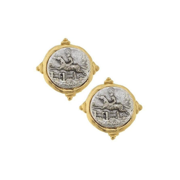 Gold and Silver Italian Intaglio Equestrian Pierced Earrings