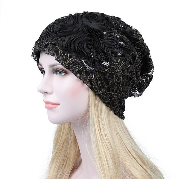 Lace Flower Beanie Cap - Black