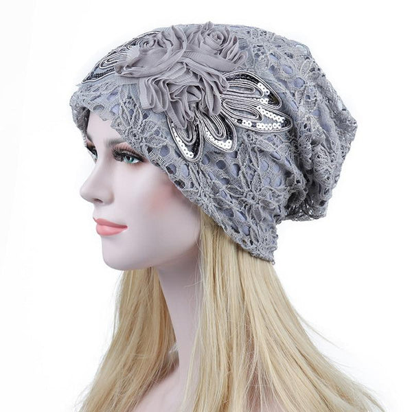 Lace Flower Beanie Cap - Gray