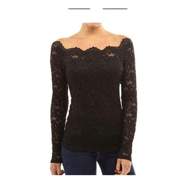 Plus Size Lace Top - Black / XXL - Black / XXXL - Black / 4XL - Black / 5XL