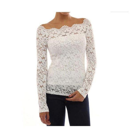 Plus Size Lace Top - White / XXL - White / XXXL - White / 4XL - White / 5XL