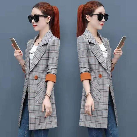 Plus Size Spring  Long Sleeve Plaid Blazer - Blazer 01 / XXL - Blazer 01 / XXXL