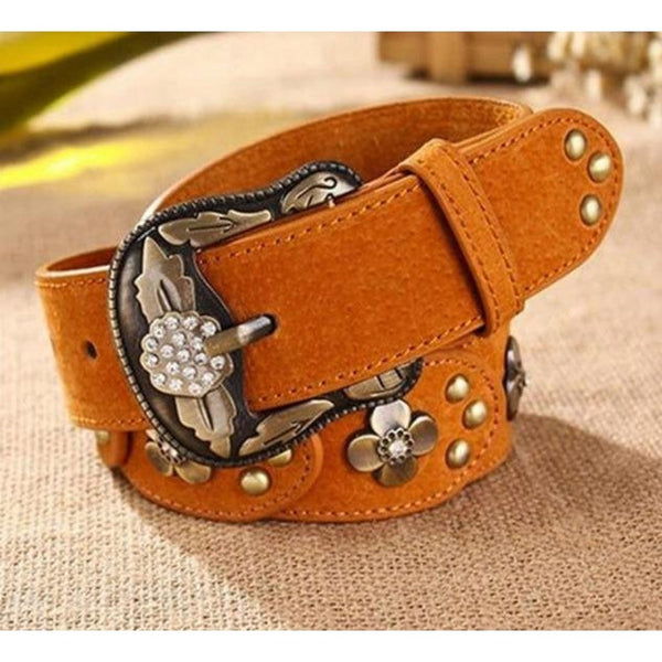 Leather Belt with Metal Floral Inlay