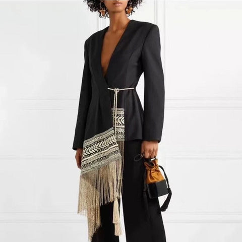 Asymmetrical Fringe Jacket