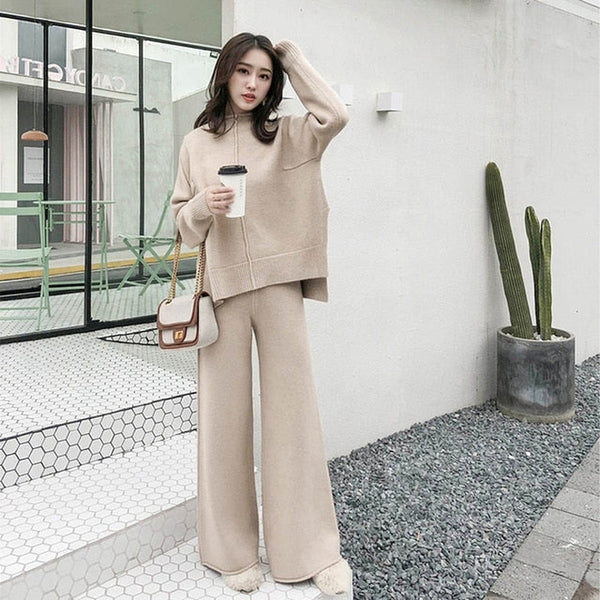 Knitted Long Sleeve Two Piece Set