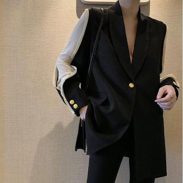 Split Color Long Sleeve Black Blazer - Black / S - Black / M - Black / L