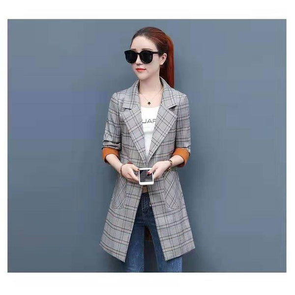 Spring Long Sleeve Plaid Blazer