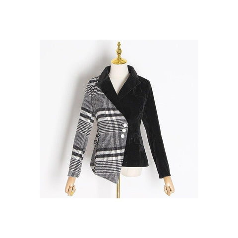 Wool Plaid Asymmetrical Blazer
