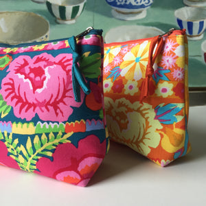 DAYA Kaffe Fassett Floral Cotton Clutch Makeup Bag