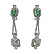 Load image into Gallery viewer, Emerald and Diamond Earrings