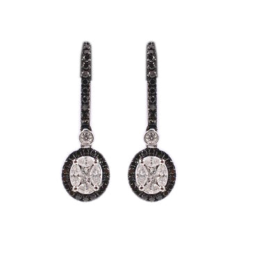 18k Gold with Black and White Diamonds Earrings