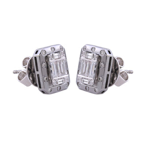 18k White Gold Studs with Baguette Diamonds