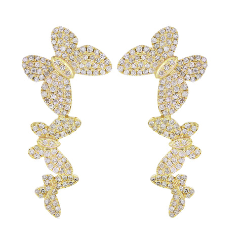 18K Gold Diamond Butterfly Earings