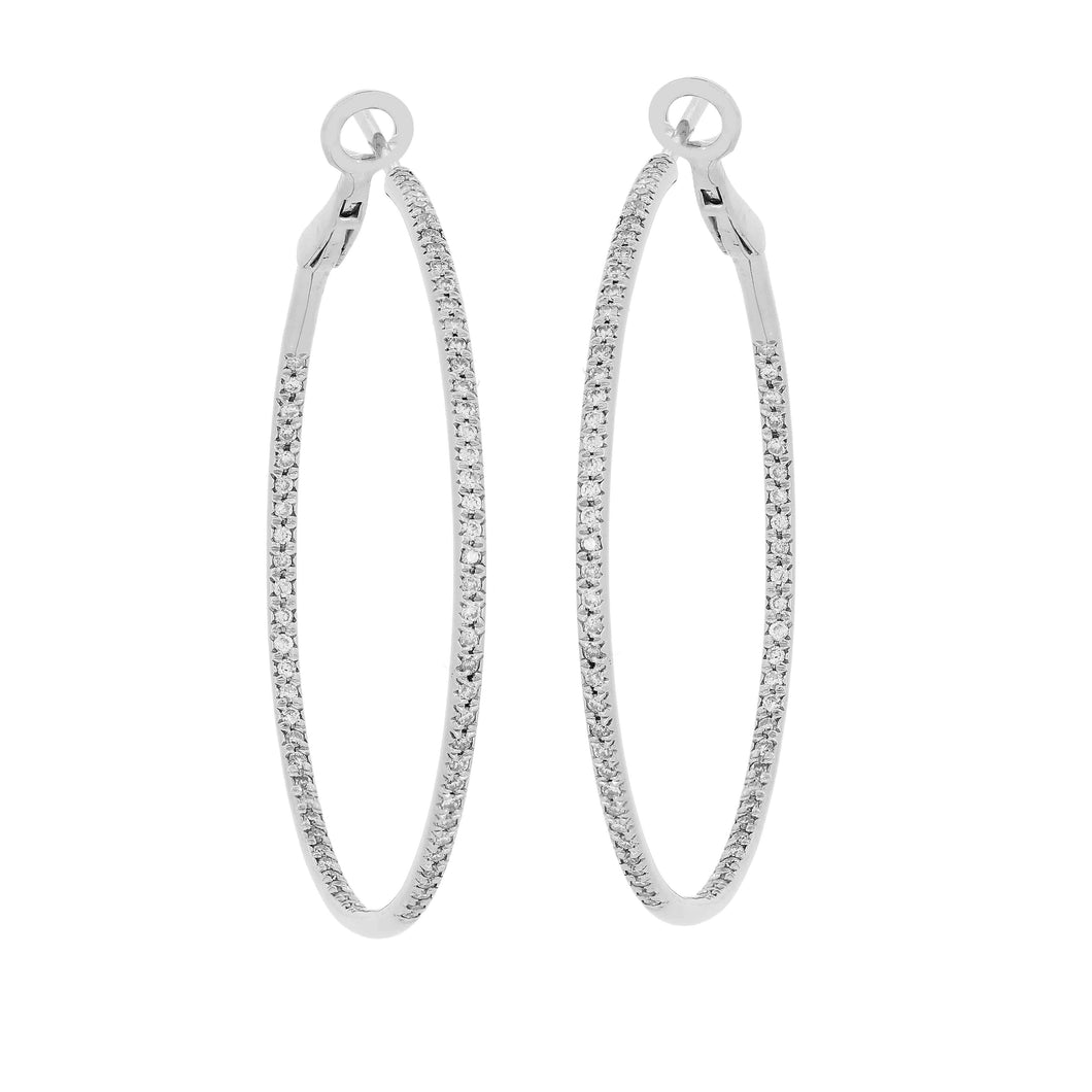 14k White Gold and Diamond Hoops