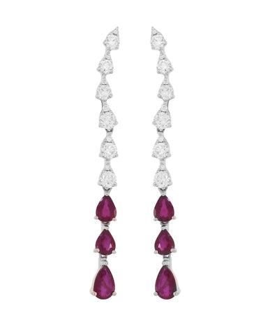Long Rubi and Diamonds Earrings