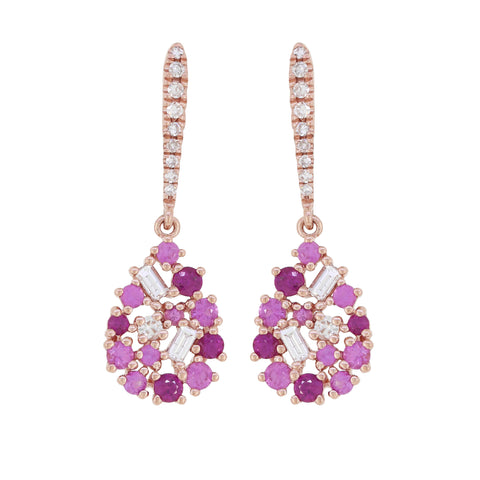 14K Gold Pink Sapphire and Diamond Earrings