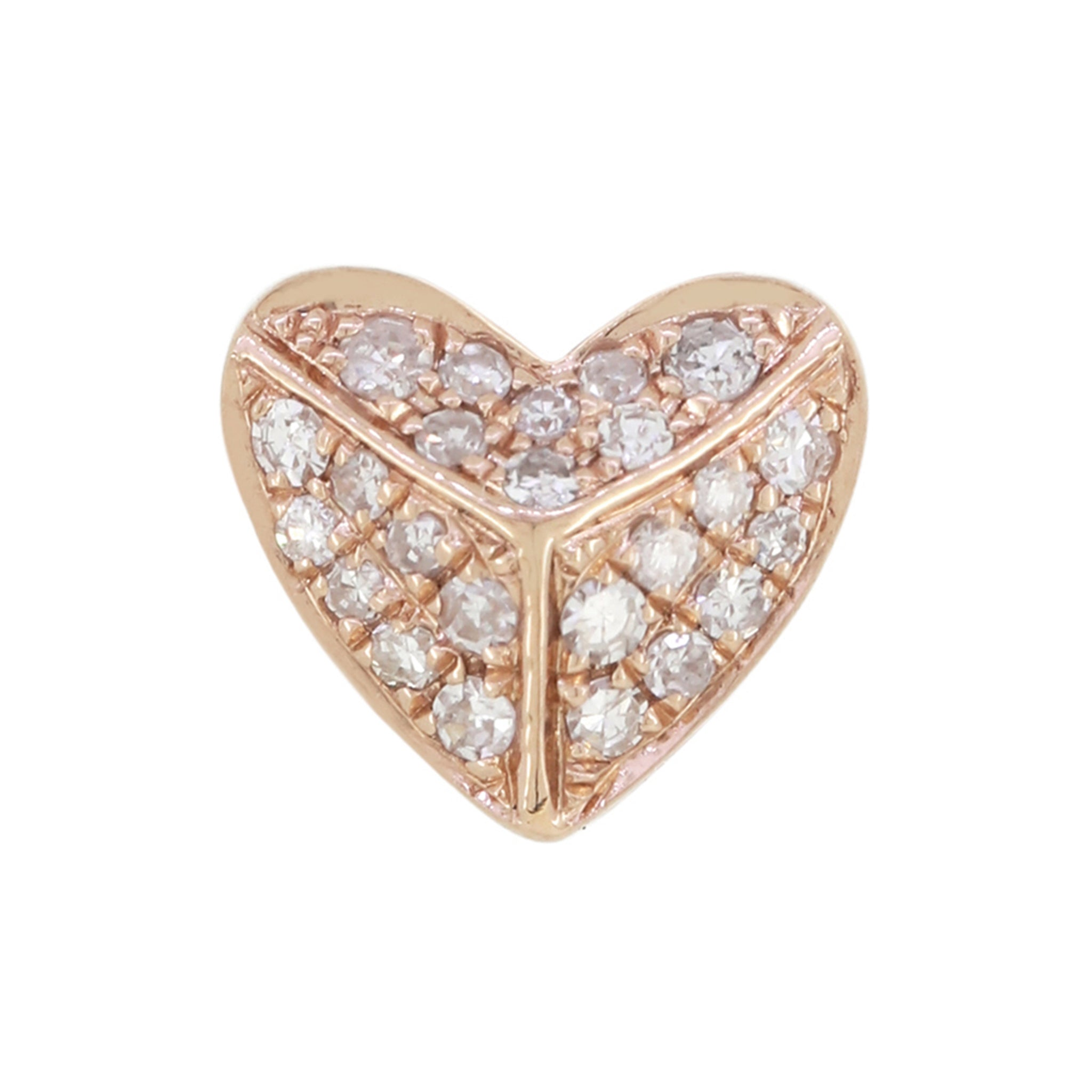 18K Rose Gold and Diamond Heart Earrings