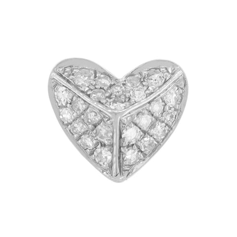 18K White Gold and Diamonds Heart Earrings