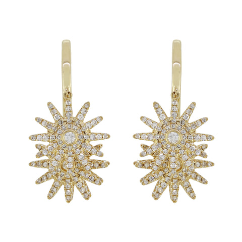 18K Gold Three Suns with Diamonds Earrings