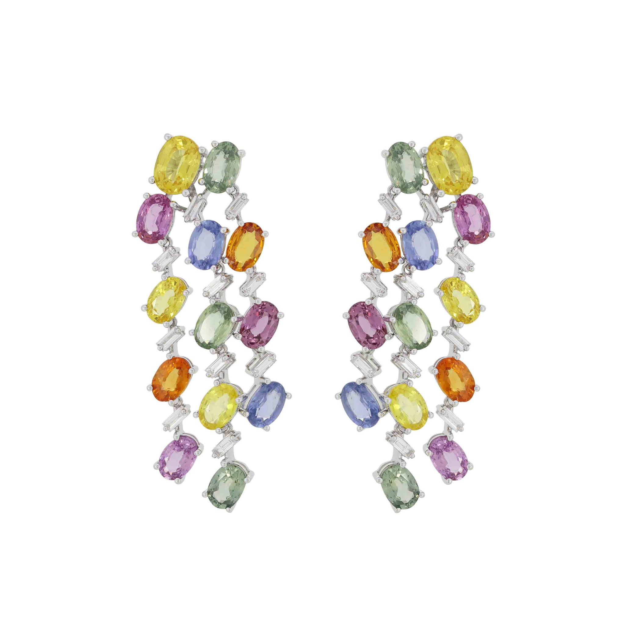 Multi Color Sapphire Earrings