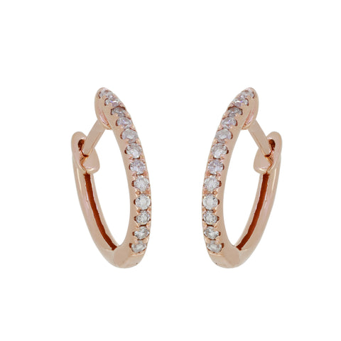 18K Gold  and Diamond Small Hoops