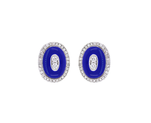 18K Gold  Studs Earrings  Diamond and Blue Enamel
