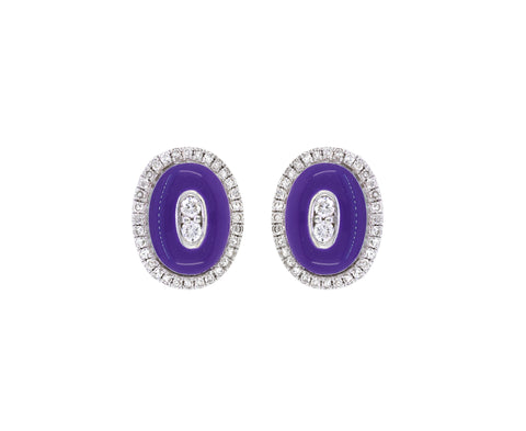 18K Gold  Studs Earrings  Diamond and Purple Enamel