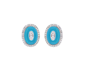 18K Gold  Studs Earrings  Diamond and Light Blue Enamel