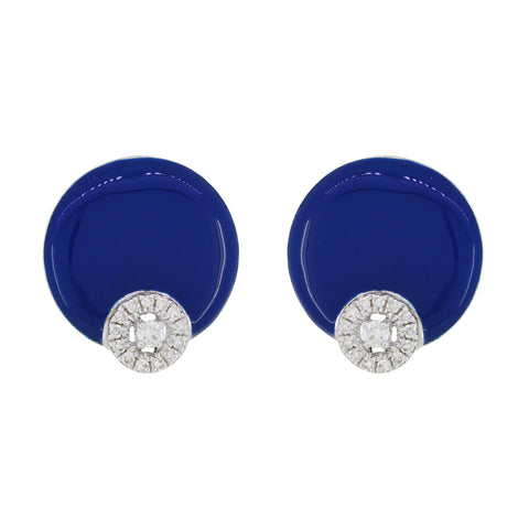 18K Gold Blue Enamel and Diamonds Studs Earrings