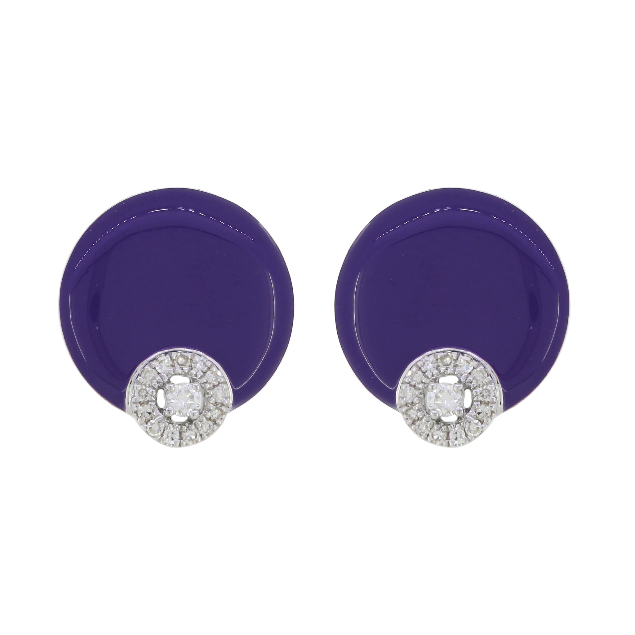 18K Gold Purple Enamel and Diamonds Studs Earrings
