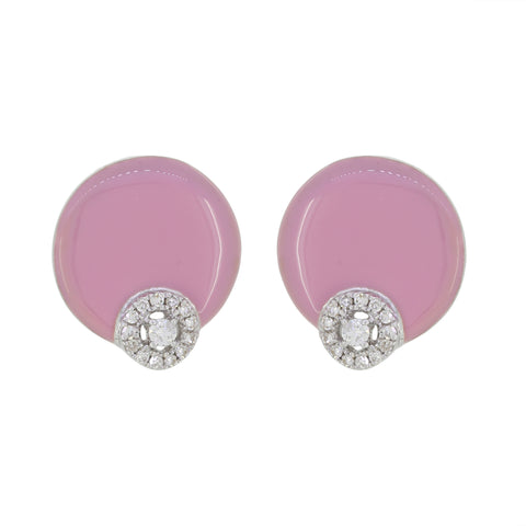 18K Gold Pink Enamel and Diamonds Studs Earrings