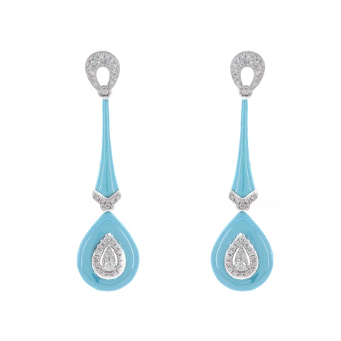 18K Gold Long Light Blue Enamel with Diamond Earrings
