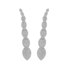 Load image into Gallery viewer, Long 18k White Gold and Diamond Earrings