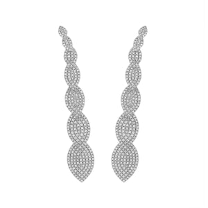 Long 18k White Gold and Diamond Earrings