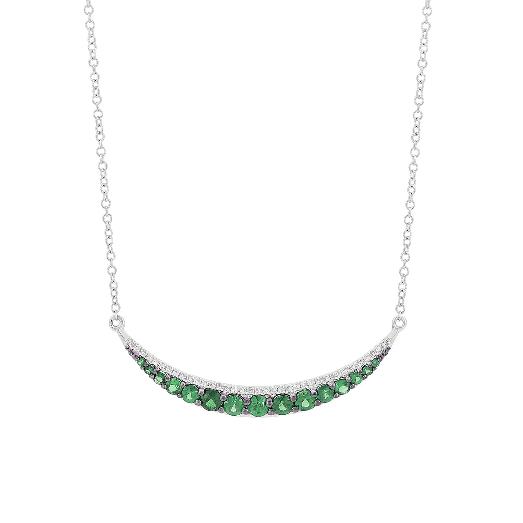 14K Gold Diamonds and Emerald Necklace