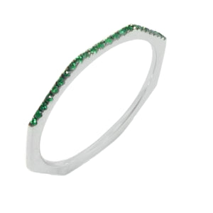 18K White Gold with Emerald Ring