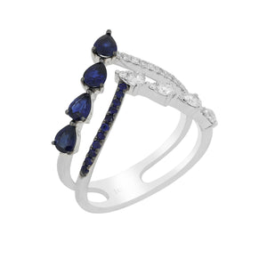 18K Gold Diamonds and Blue Sapphire Ring