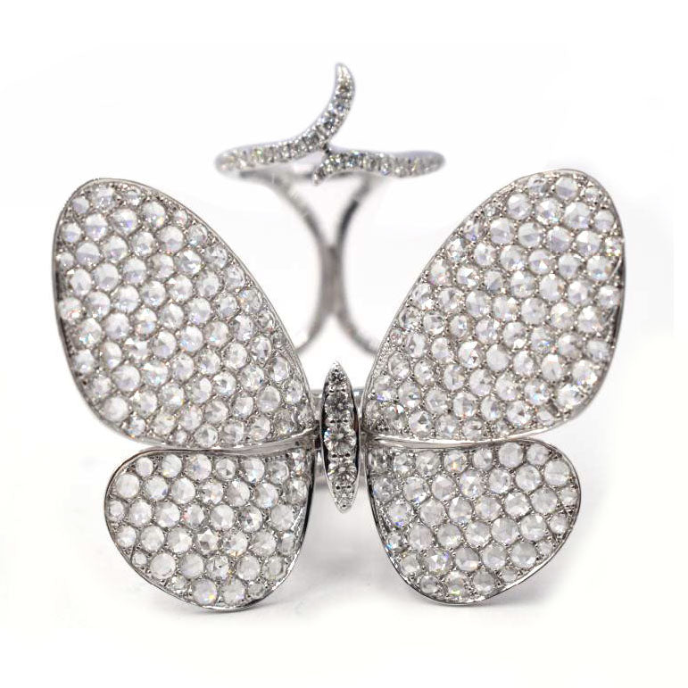 18k White Gold and Diamond Buterfly Ring