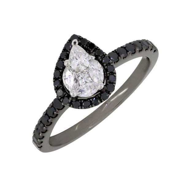 18k Gold with Black and White Diamond Ring