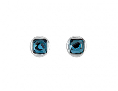 The Jejewel Unode50 Silver Plated Studs Blue Square Swarovski Earrings PEN0515AZUMTL0U