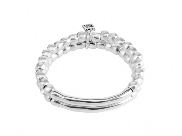 Tandem Unode50 Double Beaded Two Tube Shaped Silver Plated Bracelet PUL1211MTL0000M
