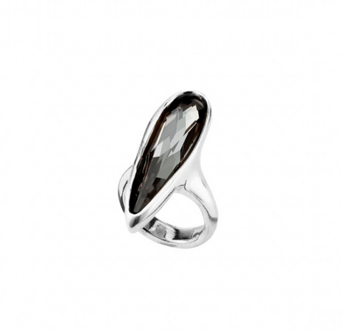 Love Him Unode50 Silver Plated Petals Shape Gray Swarovski Ring ANI0567GRSMTL