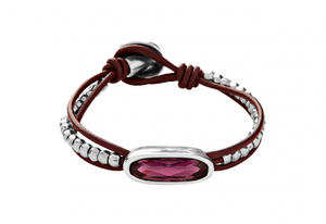 The Tribe Unode50 Leather Small Silver Plated Beads Purple Swarovski Bracelet PUL1657MORMTL0M