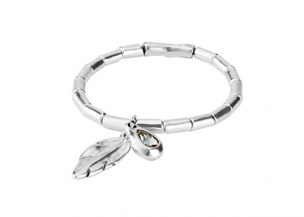 Plucked Unode50 Silver Plated Feather Shaped Gray Swarovski Elastic Bracelet PUL1775GRSMTL0M